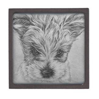 Cute Puppy Dog Drawing of Animal Art Gift Box