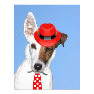 Cute puppy dog fashion red hat tie moustache letterhead