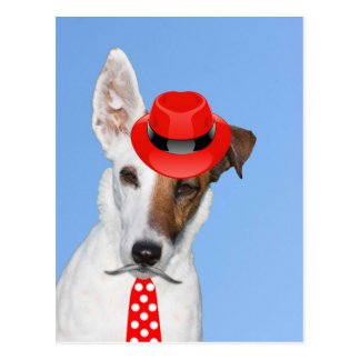 Cute puppy dog fashion red hat tie moustache postcard