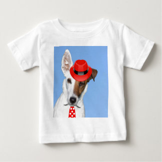 Cute puppy dog fashion red hat tie moustache t shirt