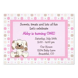 Cute Puppy Dog Girls 1st Birthday Pink Invite