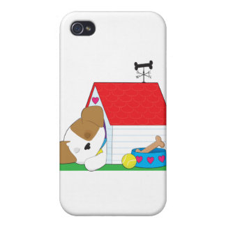 Cute Puppy Dog House iPhone 4 Cover