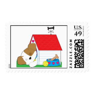 Cute Puppy Dog house Postage Stamp