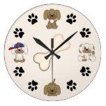 Cute Puppy Dog, Paw Prints and Bone Boys Large Clock