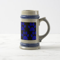 Cute Puppy Dog Paw Prints Blue Black Beer Stein