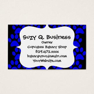 Cute Puppy Dog Paw Prints Blue Black Business Card