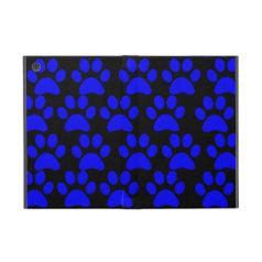 Cute Puppy Dog Paw Prints Blue Black Case For iPad Mini