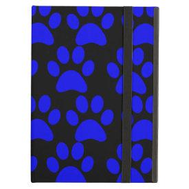 Cute Puppy Dog Paw Prints Blue Black iPad Folio Cases