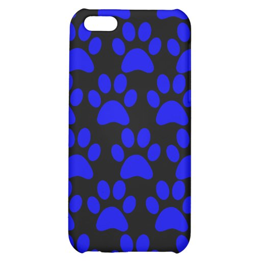 Cute Puppy Dog Paw Prints Blue Black iPhone 5C Covers