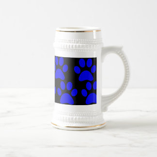 Cute Puppy Dog Paw Prints Blue Black Mugs