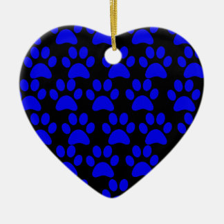 Cute Puppy Dog Paw Prints Blue Black Double-Sided Heart Ceramic Christmas Ornament