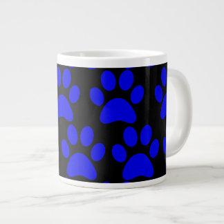 Cute Puppy Dog Paw Prints Blue Black Extra Large Mugs