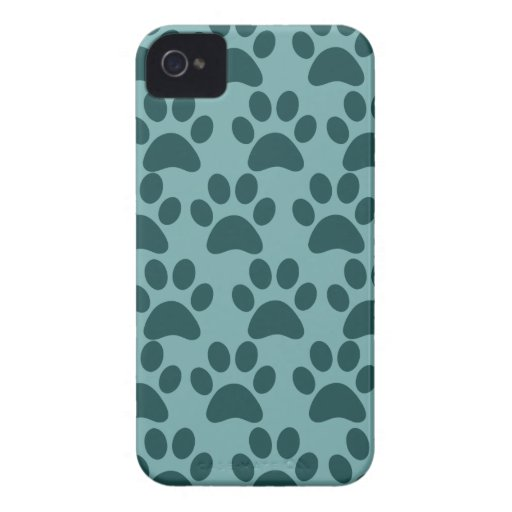Cute Puppy Dog Paw Prints Blue Gray Dog Lovers iPhone 4 Case-Mate Case