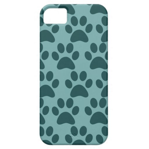Cute Puppy Dog Paw Prints Blue Gray Dog Lovers iPhone 5 Cover