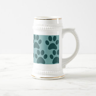 Cute Puppy Dog Paw Prints Blue Gray Dog Lovers Mugs