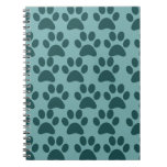 Cute Puppy Dog Paw Prints Blue Gray Dog Lovers Notebook