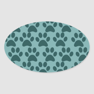 Cute Puppy Dog Paw Prints Blue Gray Dog Lovers Oval Sticker