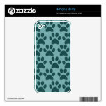 Cute Puppy Dog Paw Prints Blue Gray Dog Lovers Decal For iPhone 4S