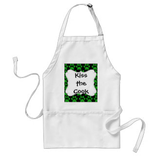 Cute Puppy Dog Paw Prints Green Black Adult Apron