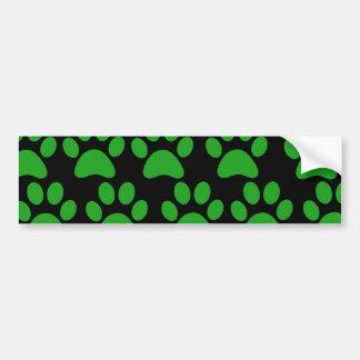 Cute Puppy Dog Paw Prints Green Black Bumper Sticker