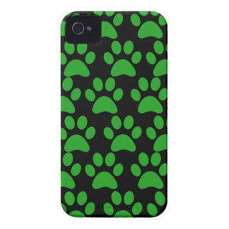 Cute Puppy Dog Paw Prints Green Black iPhone 4 Covers
