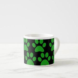 Cute Puppy Dog Paw Prints Green Black Espresso Cup