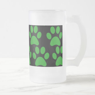 Cute Puppy Dog Paw Prints Green Black Frosted Glass Beer Mug