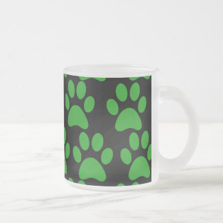 Cute Puppy Dog Paw Prints Green Black Frosted Glass Coffee Mug