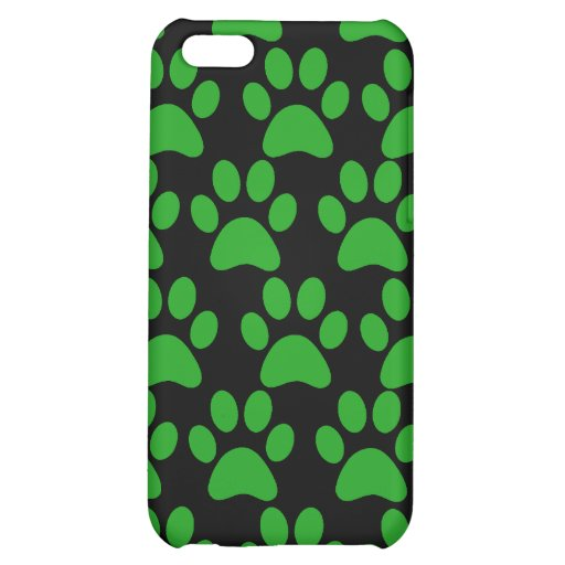Cute Puppy Dog Paw Prints Green Black iPhone 5C Covers