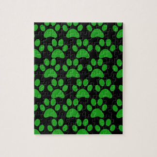 Cute Puppy Dog Paw Prints Green Black Puzzle