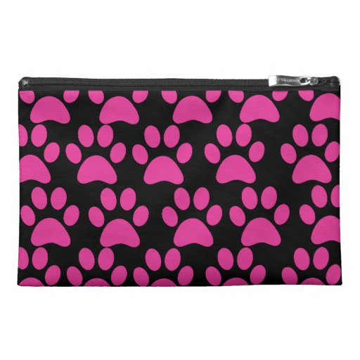 Cute Puppy Dog Paw Prints Hot Pink Black Travel Accessories Bags