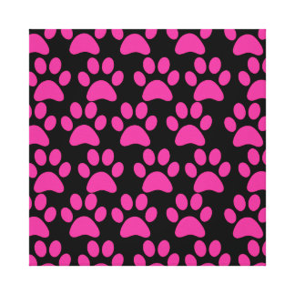 Cute Puppy Dog Paw Prints Hot Pink Black Stretched Canvas Prints