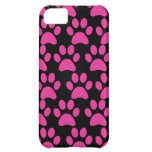 Cute Puppy Dog Paw Prints Hot Pink Black iPhone 5C Cover
