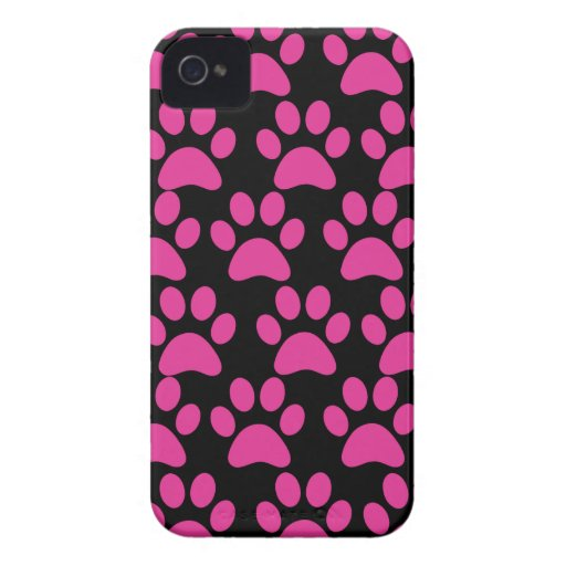 Cute Puppy Dog Paw Prints Hot Pink Black iPhone 4 Covers