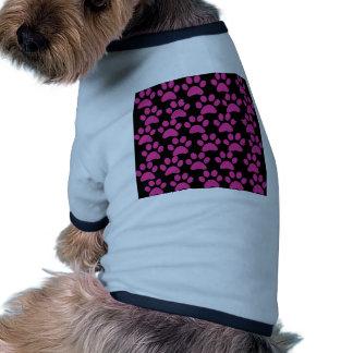 Cute Puppy Dog Paw Prints Hot Pink Black Pet Clothing