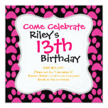Cute Puppy Dog Paw Prints Hot Pink Black Invites