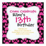 Cute Puppy Dog Paw Prints Hot Pink Black Invites
