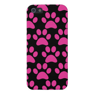Cute Puppy Dog Paw Prints Hot Pink Black iPhone 5 Case