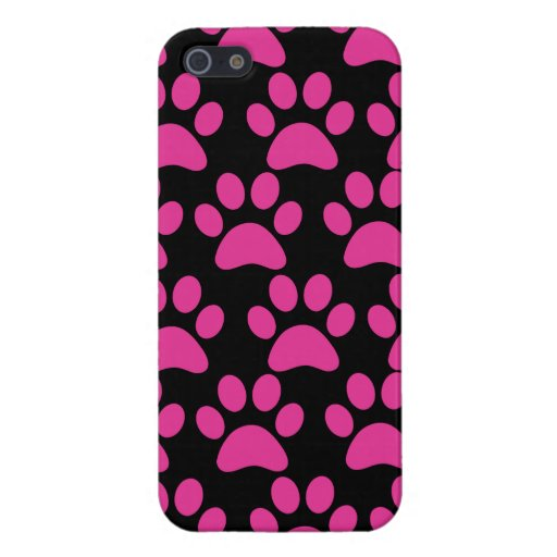 Cute Puppy Dog Paw Prints Hot Pink Black Cases For iPhone 5