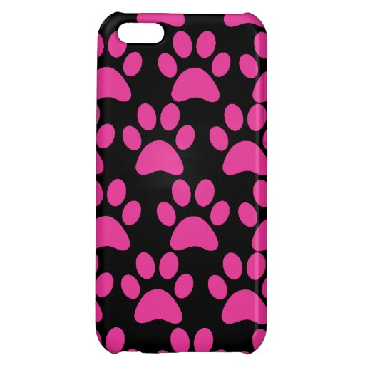 Cute Puppy Dog Paw Prints Hot Pink Black Cover For iPhone 5C