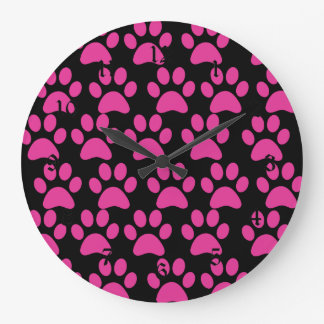 Cute Puppy Dog Paw Prints Hot Pink Black Large Clock
