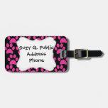 Cute Puppy Dog Paw Prints Hot Pink Black Luggage Tag