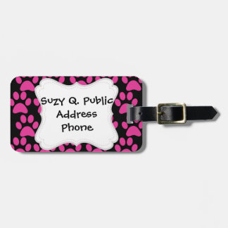 Cute Puppy Dog Paw Prints Hot Pink Black Luggage Tag