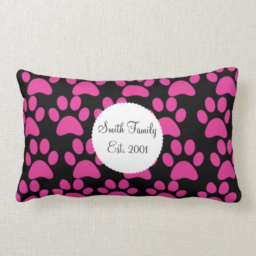 Cute Puppy Dog Paw Prints Hot Pink Black Lumbar Pillow Zazzle