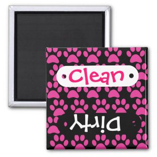 Cute Puppy Dog Paw Prints Hot Pink Black 2 Inch Square Magnet