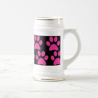Cute Puppy Dog Paw Prints Hot Pink Black Coffee Mug