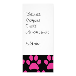 Cute Puppy Dog Paw Prints Hot Pink Black Rack Card