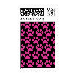 Cute Puppy Dog Paw Prints Hot Pink Black Stamp