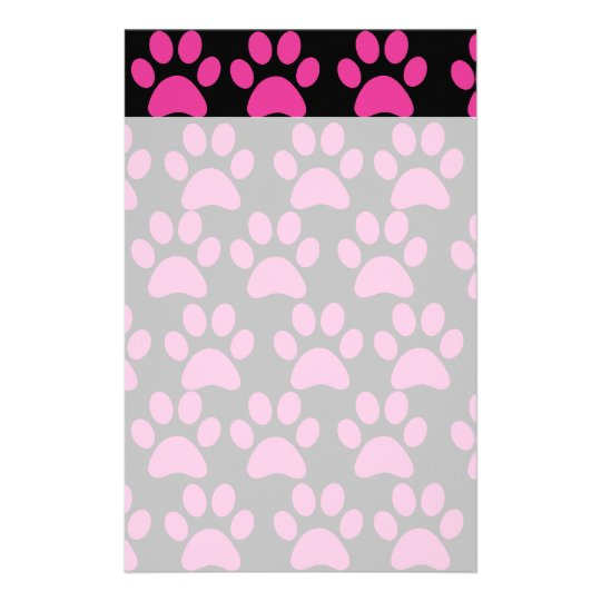 Cute Puppy Dog Paw Prints Hot Pink Black Stationery