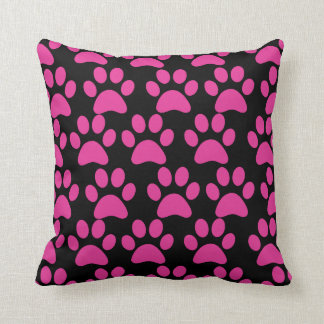 Cute Puppy Dog Paw Prints Hot Pink Black Throw Pillow